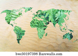 Desertification Art Print Poster Protect The Environment From Desertification World Map With Leaves Fill