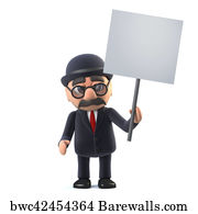 fd38d2f2f6c Art Print Poster - 3d Bowler Hatted British Businessman Holding A Placard