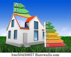 Energy Ranking Art Print Poster   3d Modern House With Energy Rating