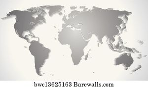 Art Print Of World Map With Global Network Barewalls Posters - World map silhouette poster