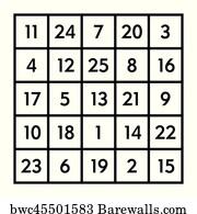 Magic square 4x4 sum 24