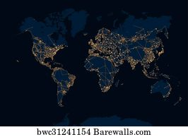 Art print of world map of the global communications network art print poster abstract night world map gumiabroncs Gallery