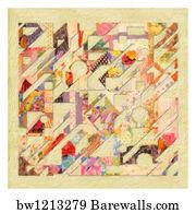 QUILTING quilt zebra art  4x6  poster modern folk pop art  GLOSSY PRINT