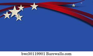 art print of american stars and stripes blue background barewalls