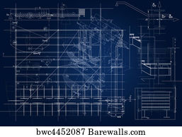 Art print of blue print of a architectural project barewalls art print poster architectural blueprint malvernweather Image collections