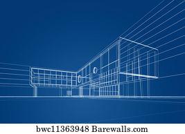 Art print of architecture blueprint barewalls posters prints art print poster architecture blueprint malvernweather Image collections