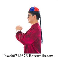 Art print of asian man with chinese traditional dress cheongsam and art print poster asian male with traditional chinese new year greeting gong xi fa m4hsunfo