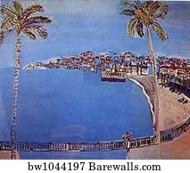 Beach Town Art Print Poster Bay Of Angels
