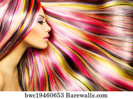 Beauty Fashion Model With Colorful Dyed Hair