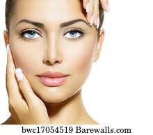 Beauty Salon Art Print Poster Portrait Beautiful Spa Woman Touching Her Face