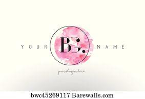 Bm Letter Logo Design With Watercolor Circular Brush Stroke