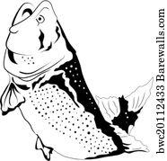 art print of jumping fish vector barewalls posters prints 18th Century Fly Fishing art print poster big fish jumping