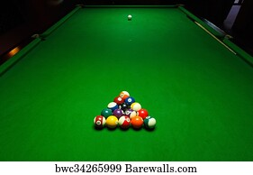 Good Pool Table Art Print Poster   Billards Pool Game. Green Cloth Table