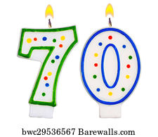 70th Birthday Candles Isolated Art Print Poster
