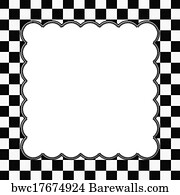 Art Print Of Black And White Checkered Frame With Embroidery