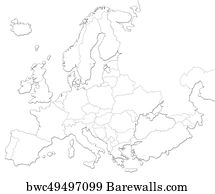 Blank Map Posters And Art Prints Barewalls - Blank maps of europe to print