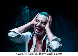 circus theme art print poster bloody halloween theme crazy joker face
