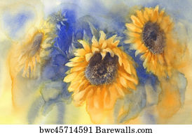 Vintage Sunflower Art Print Poster