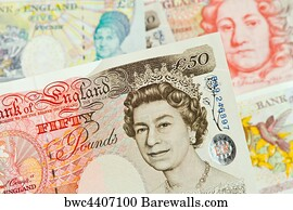 592 British Pound Notes Pounds Banknotes Currency Art Print Poster