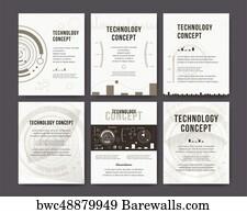 art print of technology report flyer design template brochure