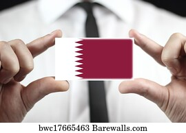 2979 qatar flag posters and art prints barewalls qatar flag art print poster businessman holding a business card with qatar flag reheart Images