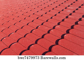 Red Roof Tiles Art Print Poster   Red Roof Tiles Texture