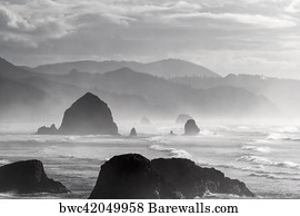 Cannon Beach Art Print Poster Black And White Portrait