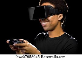 9c5230e37475 3d Video Games with Virtual Reality Headset - Canvas Print