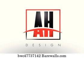 Canvas Print of HZ H Z Logo Letters with Red and Black