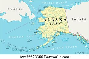 Political Map Of Alaska.Canvas Print Of Alaska Political Map Barewalls Posters Prints