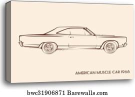 Canvas Print Of Classic American Muscle Car Cartoon Barewalls