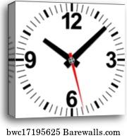 Analog flip clock icon, cartoon style, Canvas Print