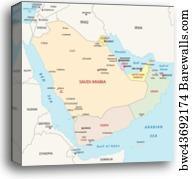 Canvas Print of Arabian peninsula map   Barewalls Posters & Prints ...