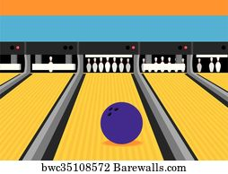 bowling ball on lane illustration - canvas print