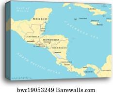 Central America countries map, Canvas Print | Barewalls ...
