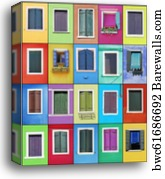 Collage of colorful mexican windows, Canvas Print