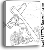 Canvas Print Of Coloring Page Jesus Carrying Cross Barewalls