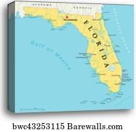 Political Map Of Florida.Canvas Print Of Florida Political Map Barewalls Posters Prints