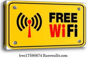 Free wifi available here - yellow , Canvas Print | Barewalls