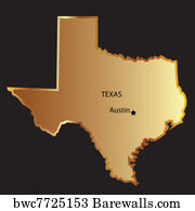 Texas State map flag, Canvas Print   Barewalls Posters