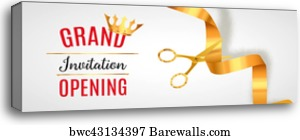 Canvas Print Of Grand Opening Design Template With Ribbon And
