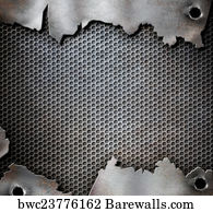 Metal With Bullet Holes Military Background Canvas Print