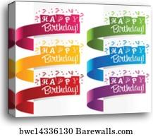 canvas print of happy birthday horizontal banners barewalls