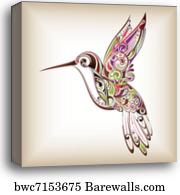 Male broad-billed hummingbird shares a Canvas Wall Art Print Hummingbird Home