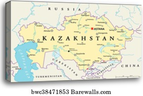 Kazakhstan Political Map.Canvas Print Of Kazakhstan Political Map Barewalls Posters
