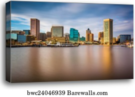 Baltimore Skyline Yachts Dusk 3.2 Wall Art Canvas Picture Print