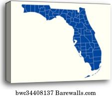 Print Map Of Florida.Map Of Florida Canvas Print Barewalls Posters Prints Bwc34472280