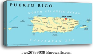 Canvas Print Of Puerto Rico Political Map Barewalls Posters