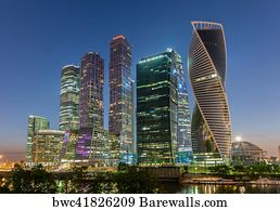Financial district Moscow City Night Russia 3.2 Wall Art Canvas Picture Print
