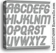 Vector English alphabet letters, abc collection  Capital decorative